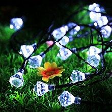 Eplze LED-Solarlicht Wasserdicht 6m 19.7ft 30LEDs Diamant Lichterketten für Garten, Hochzeit, Weihnachten, Geburtstagsfeier, Feste (Weiß)