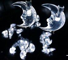 Eplze LED-Solarlicht Wasserdicht 6m 19.7ft 30LEDs Halbmond Lichterketten für Garten, Hochzeit, Weihnachten, Geburtstagsfeier, Feste (Weiß)