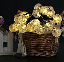 Eplze LED-Solarlicht Wasserdicht 6m 19.7ft 30LEDs Kristallkugel Lichterketten für Garten, Hochzeit, Weihnachten, Geburtstagsfeier, Feste (Warmweiß)