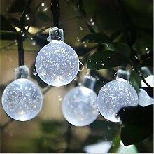 Eplze LED-Solarlicht Wasserdicht 6m 19.7ft 30LEDs Kristallkugel Lichterketten für Garten, Hochzeit, Weihnachten, Geburtstagsfeier, Feste (Weiß)