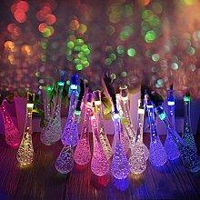 Eplze LED-Solarlicht Wasserdicht 6m 19.7ft 30LEDs Wassertropfen Lichterketten für Garten, Hochzeit, Weihnachten, Geburtstagsfeier, Feste (Multicolor)