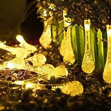 Eplze LED-Solarlicht Wasserdicht 6m 19.7ft 30LEDs Wassertropfen Lichterketten für Garten, Hochzeit, Weihnachten, Geburtstagsfeier, Feste (Warmweiß)