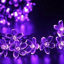 Eplze LED-Solarlicht Wasserdicht 7m 21ft 50LEDs Pfirsichblüten Lichterketten für Garten, Hochzeit, Weihnachten, Geburtstagsfeier, Feste (Purpurrot)