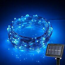 Eplze Solarbetrieben 10M 33ft 100 LEDs Starry Kupferdraht LED-String-Licht für Geburtstags-Party, Garten, Hof, Weihnachten (Blau)