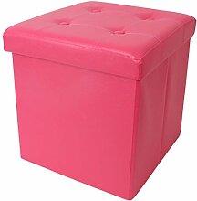 eprovo Design Sitzwürfel Pink Girl Mädchen Sitzhocker mit Deckel Sitztruhe 38 cm Aufbewahrungsbox faltbar bis 300 kg belastbar