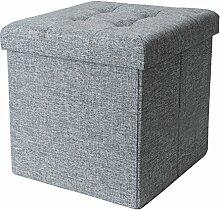 eprovo Leinen Design Sitzwürfel Grau mit Ziernieten abgesteppter Sitzhocker Sitztruhe Aufbewahrungsbox faltbar bis 300 kg belastbar