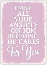 Er Pflegt für Sie (Pink)–Metall Wandschild