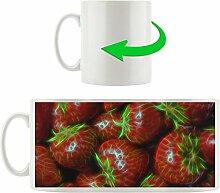 Erdbeeren, Motivtasse aus weißem Keramik 300ml, Tolle Geschenkidee zu jedem Anlass. Ihr neuer Lieblingsbecher für Kaffe, Tee und Heißgetränke.