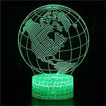 Erde Nachttischlampen Lustig Kinder 3D Illusion