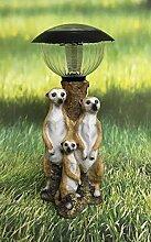Erdmännchen Trio stehend mit solarlampe Dekofigur Gartendeko