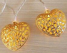 ERGEOB 10er LED/ 1m Lichterkette goldene Herz