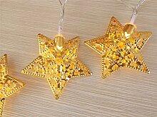 ERGEOB 30er LED 5m Lichterkette Golden Stern Lichterkette warmweiß Licht mit Trafo dabei