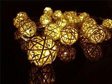 ERGEOB 4m 20er LED Lichterkette Weihnachtsdeko Geflochtene Kugel Lichterketten warmweiß