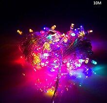 ERGEOB Lichterkette Kupferdraht Weihnachtsdeko 100er LED 10M Weihnachtsbaum Lichterketten Garten Weihnachtsbeleuchtung bun