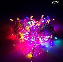 ERGEOB Lichterkette Kupferdraht Weihnachtsdeko 200er LED 20M Weihnachtsbaum Lichterketten Garten Weihnachtsbeleuchtung bun