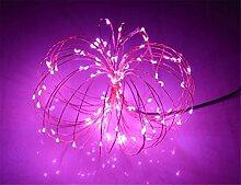 ERGEOB Lichterkette Weihnachtsdeko 100er LED 10M Silberdraht Weihnachtsbaum Lichterketten Garten Weihnachtsbeleuchtung pink