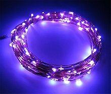ERGEOB Lichterkette Weihnachtsdeko 100er LED 10M Silberdraht Weihnachtsbaum Lichterketten Garten Weihnachtsbeleuchtung lila
