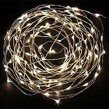 ERGEOB Lichterkette Weihnachtsdeko 50er LED 5M Silberdraht Weihnachtsbaum Lichterketten Garten Weihnachtsbeleuchtung weiß