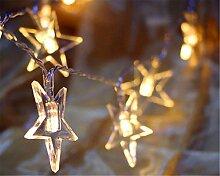 ERGEOB Stern-LED-Lichterkette 10 Meter 100 Licht Lichterketten Hochzeit DIY Homedekoration 100LED 10m mit EU Stormstecker