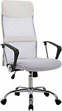 ergonomischer Büro Dreh Arbeitsstuhl mit Netzbezug in Weiß, atmungsaktives Material, hohe Belastbarkeit (180kg), Rückenlehne ideal für große Personen