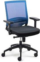 Ergonomischer Bürostuhl in Blau-Schwarz Armlehnen