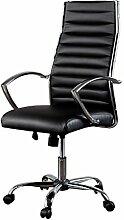 Ergonomischer Design Bürostuhl BIG DEAL schwarz Chefsessel höhenverstellbar mit hochwertig verchromten Armlehnen Stuhl Drehstuhl Sessel Bürosessel