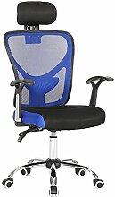 Ergonomischer Schreibtischstuhl mit hoher Rückenlehne und Kopfstütze Bürostuhl mit Netz-Rücken Farbwahl (blau)