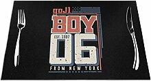 Ering6o Boy from New York City gewebte Tischsets