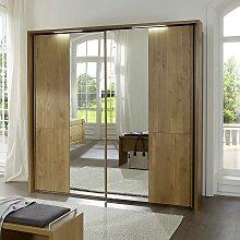 Erle Kleiderschrank mit Spiegeltüren LED