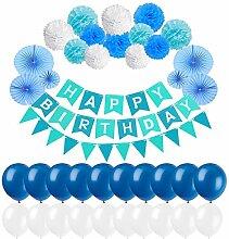 Erlliyeu Geburtstag Dekoration, Happy Birthday Girlande mit Luftballons Latexballons und Girlande mit Seidenpapier Pompoms für Geburtstag Dekoration (pink) (blue)