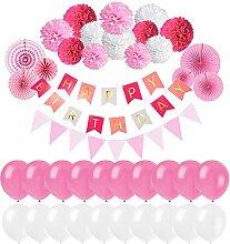 Erlliyeu Geburtstag Dekoration, Happy Birthday Girlande mit Luftballons Latexballons und Girlande mit Seidenpapier Pompoms für Geburtstag Dekoration (pink) (pink)