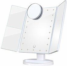Eroilor Tischspiegel Kosmetikspiegel LED Beleuchtet mit 1X 2X 3X & 10 fache Vergrößerung Schminkspiegel, USB und Batteriebetrieben - Weiss