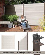 errasso WPC/BPC Sichtschutzzaun bi-color weiß 1 Zaun, 1 Schrägelement inkl. 3 Pfosten Sichtschutz Gartenzaun