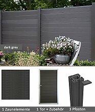 errasso WPC/BPC Sichtschutzzaun dark grey 1 Zaun, 1 Torelement inkl. 3 Pfosten Sichtschutz Gartenzaun