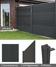 errasso WPC/BPC Sichtschutzzaun dark grey 2 Zäune, 1 Schrägelement inkl. 4 Pfosten Sichtschutz Gartenzaun