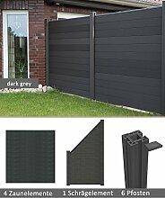 errasso WPC/BPC Sichtschutzzaun dark grey 4 Zäune, 1 Schrägelement inkl. 6 Pfosten Sichtschutz Gartenzaun