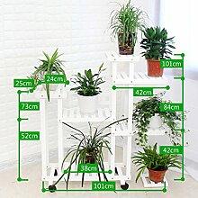 ERRU-Blumenregale Blumenständer Massivholz Mehrere Schichten Bodenbelag Blumentopf Rack Balkon Wohnzimmer Innenbereich Display Stand hält ( Farbe : Weiß , größe : B )