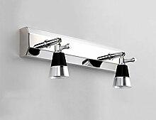 ERRU- spiegellampe Led Mirror Front Light Doppelkopf Drei Köpfe Moderne Edelstahl Spiegel Schrank Lichter Badezimmer Wandleuchte ( Farbe : Weiß-30cm )