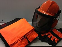 Ersatzblende für Kettensägen-Set Hose Seatless/Chaps, große Handschuhe mit Helm und Kinnriemen