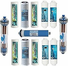 ERSATZFILTER 7 STUFEN für 1 Jahr + NEGATIV ION Filter AIFIR 2000 + Membrane 75 GPD für die Umkehrosmose Wasserfilter Osmoseanlage