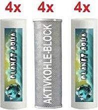 Ersatzfilter SET 12 Fiter Patronen für die Umkehrosmose Osmoseanlage Wasserfilter Sediment und Aktivkohle Block Kartuschen 10 Zoll für Wasser Trinkwasser Osmose