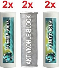 Ersatzfilter SET 6 Fiter Patronen für die 3 - 4 stufige Umkehrosmose Osmoseanlage Wasserfilter Sediment und Aktivkohle Block Kartuschen 10 Zoll für Wasser Trinkwasser Osmose