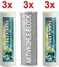 Ersatzfilter SET 9 Fiter Patronen für die 3 - 4 stufige Umkehrosmose Osmoseanlage Wasserfilter Sediment und Aktivkohle Block Kartuschen 10 Zoll für Wasser Trinkwasser Osmose