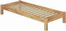 Erst-Holz® Einzelbett Jugendbett 80x200 Futonbett Massivholzbett Buche natur mit Rollrost 60.84-08