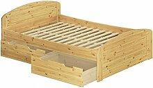 Erst-Holz® Funktionsbett Doppelbett mit 3