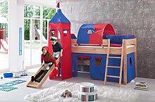 Erst-Holz® Kinder-Stockbett Buche Massiv 90x200 Halbhochbett Spielbett Rutsche Rollrost Matratze 60.24-09 M
