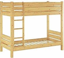 Erst-Holz® Massivholz-Stockbett Kiefer Natur 100x190 Nische 80 teilbar mit 2 Rollroste 60.16-10-190 T80