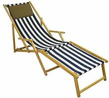 Erst-Holz Strandliege blau-weiß Liegestuhl
