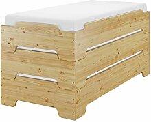 Erst-Holz® Überlanges schmales Stapelbett 90x220