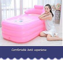 Erwachsener faltende freie aufblasbare Badewanne-Eimer-Haushalts-Badewanne füllen die Badewannen-Plastikbadewanne der Kinder ( Color : Pink electric pump , Size : 130*77*64cm )